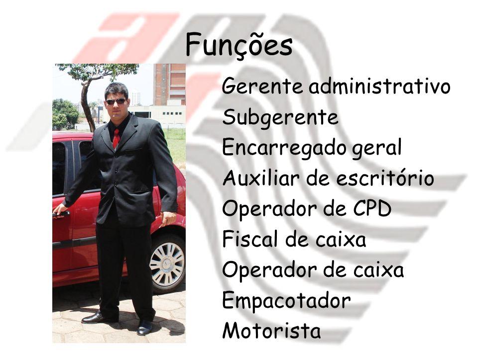 Funções Gerente administrativo Subgerente Encarregado geral Auxiliar de escritório Operador de CPD Fiscal de caixa Operador de caixa Empacotador Motor