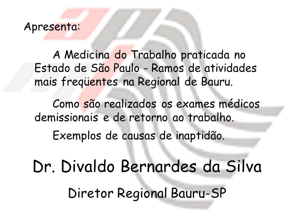 Apresenta: A Medicina do Trabalho praticada no Estado de São Paulo - Ramos de atividades mais freqüentes na Regional de Bauru. Como são realizados os