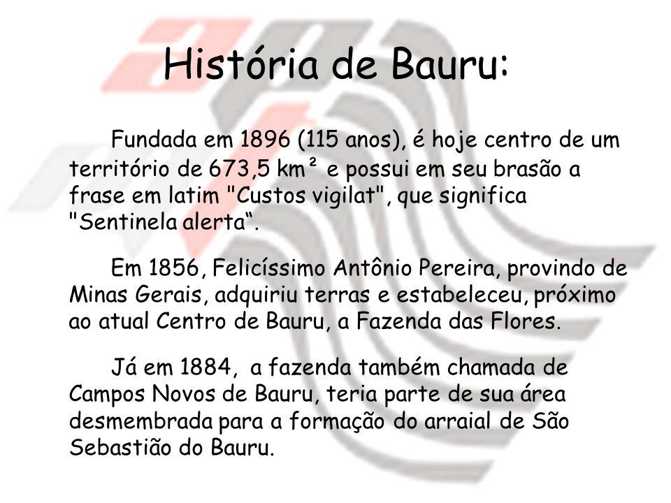 História de Bauru: Fundada em 1896 (115 anos), é hoje centro de um território de 673,5 km² e possui em seu brasão a frase em latim