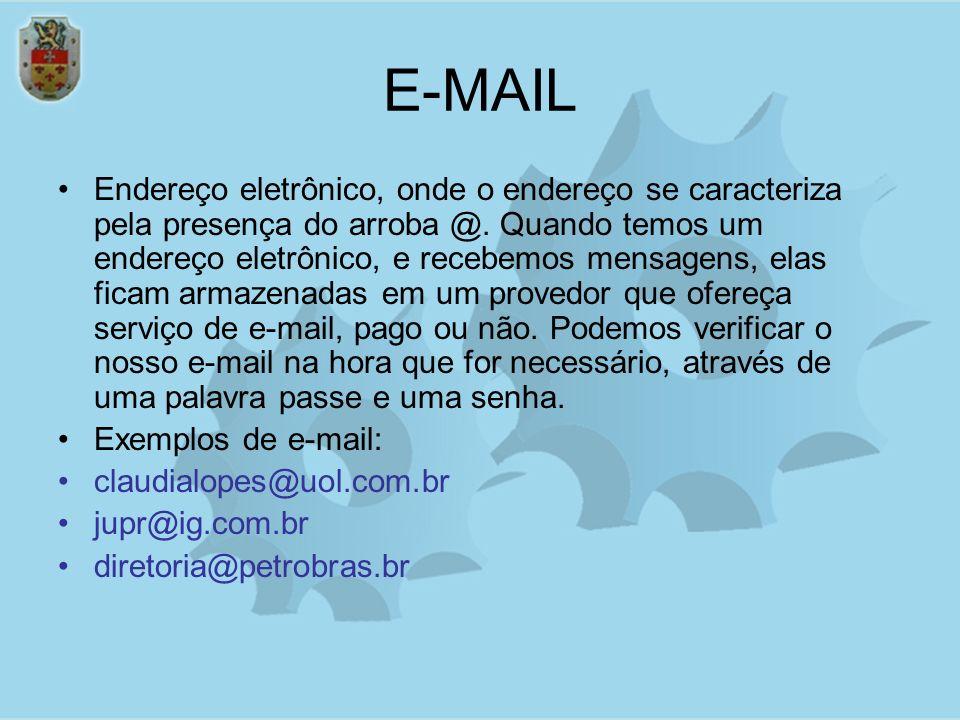 E-MAIL Endereço eletrônico, onde o endereço se caracteriza pela presença do arroba @. Quando temos um endereço eletrônico, e recebemos mensagens, elas