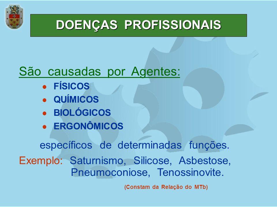 DOENÇAS PROFISSIONAIS São causadas por Agentes: FÍSICOS QUÍMICOS BIOLÓGICOS ERGONÔMICOS específicos de determinadas funções. Exemplo: Saturnismo, Sili