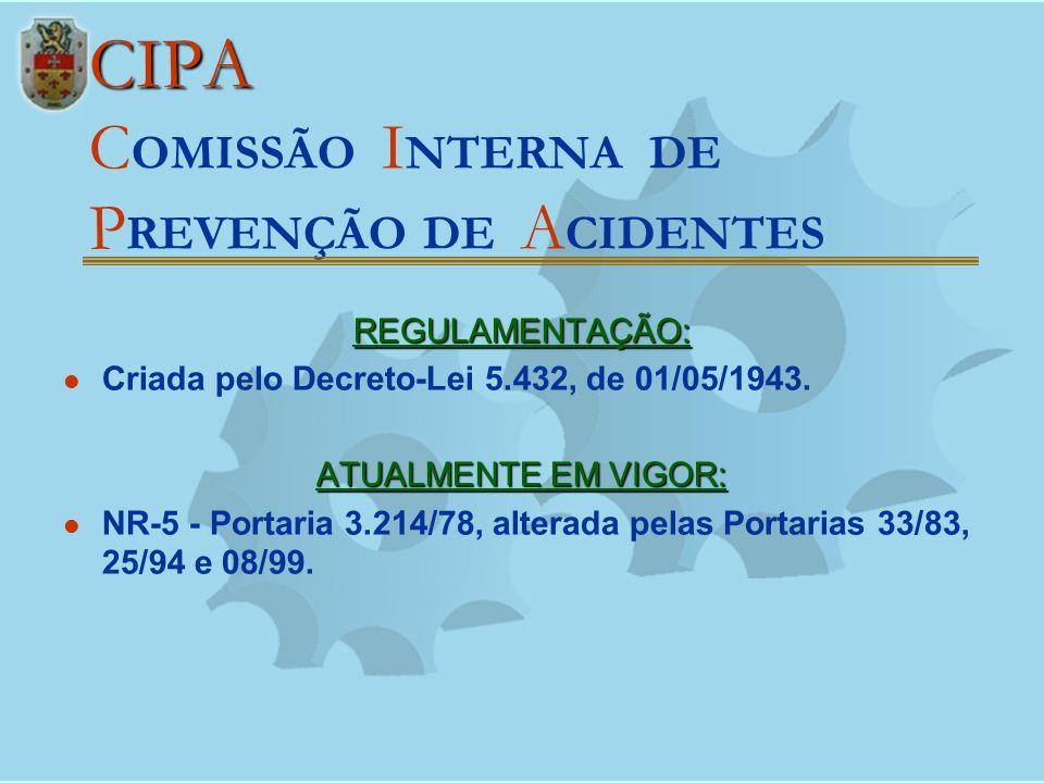 CIPA CIPA C OMISSÃO I NTERNA DE P REVENÇÃO DE A CIDENTES REGULAMENTAÇÃO: Criada pelo Decreto-Lei 5.432, de 01/05/1943. ATUALMENTE EM VIGOR: NR-5 - Por