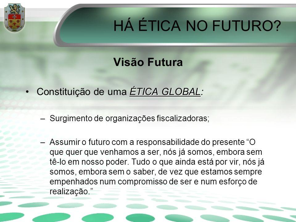 HÁ ÉTICA NO FUTURO? Visão Futura ÉTICA GLOBALConstituição de uma ÉTICA GLOBAL: –Surgimento de organizações fiscalizadoras; –Assumir o futuro com a res