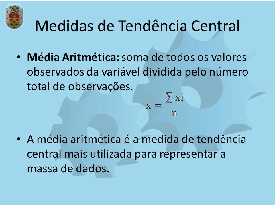 Medidas de Tendência Central Média Aritmética: soma de todos os valores observados da variável dividida pelo número total de observações. A média arit