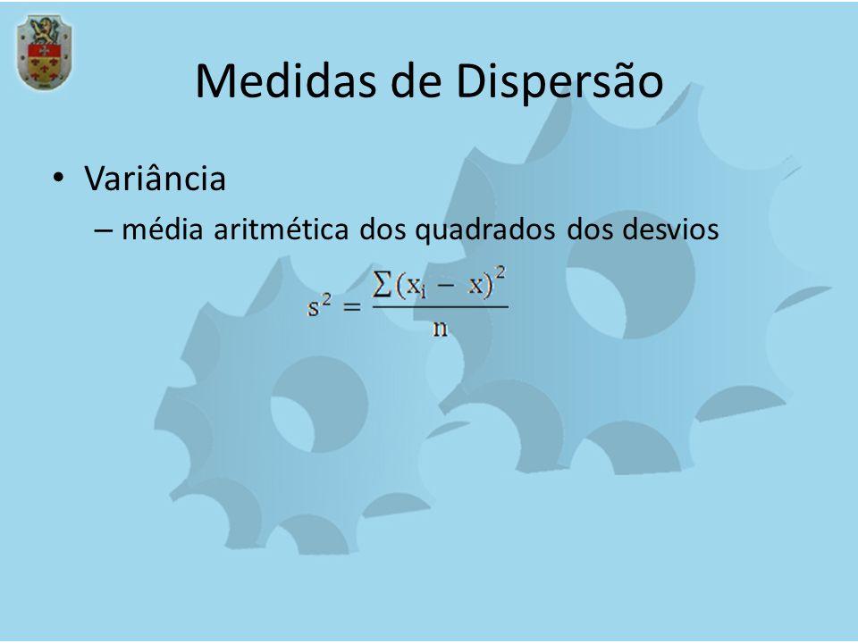 Medidas de Dispersão Variância – média aritmética dos quadrados dos desvios