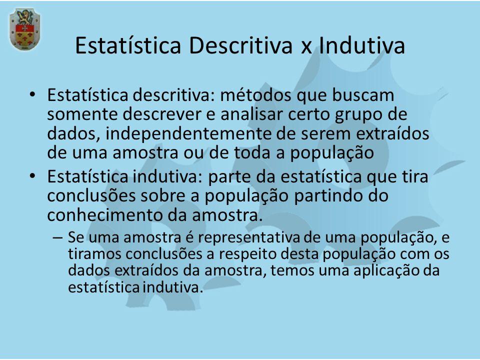 Estatística Descritiva x Indutiva Estatística descritiva: métodos que buscam somente descrever e analisar certo grupo de dados, independentemente de s