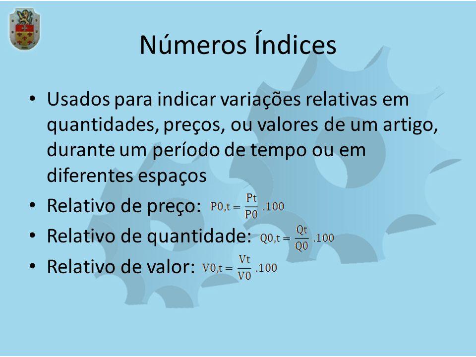 Números Índices Usados para indicar variações relativas em quantidades, preços, ou valores de um artigo, durante um período de tempo ou em diferentes