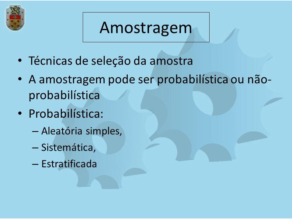 Amostragem não-probabilística Inacessibilidade de toda a população Amostragem a esmo Amostragem intencional Amostragem por voluntários