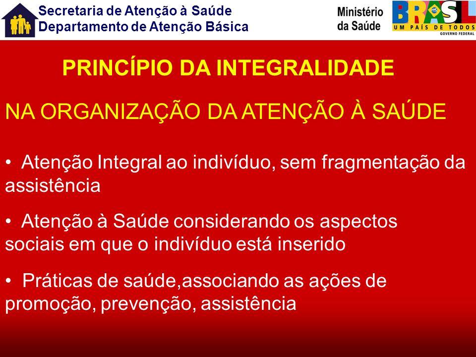 Secretaria de Atenção à Saúde Departamento de Atenção Básica A Integralidade da Atenção à Saúde