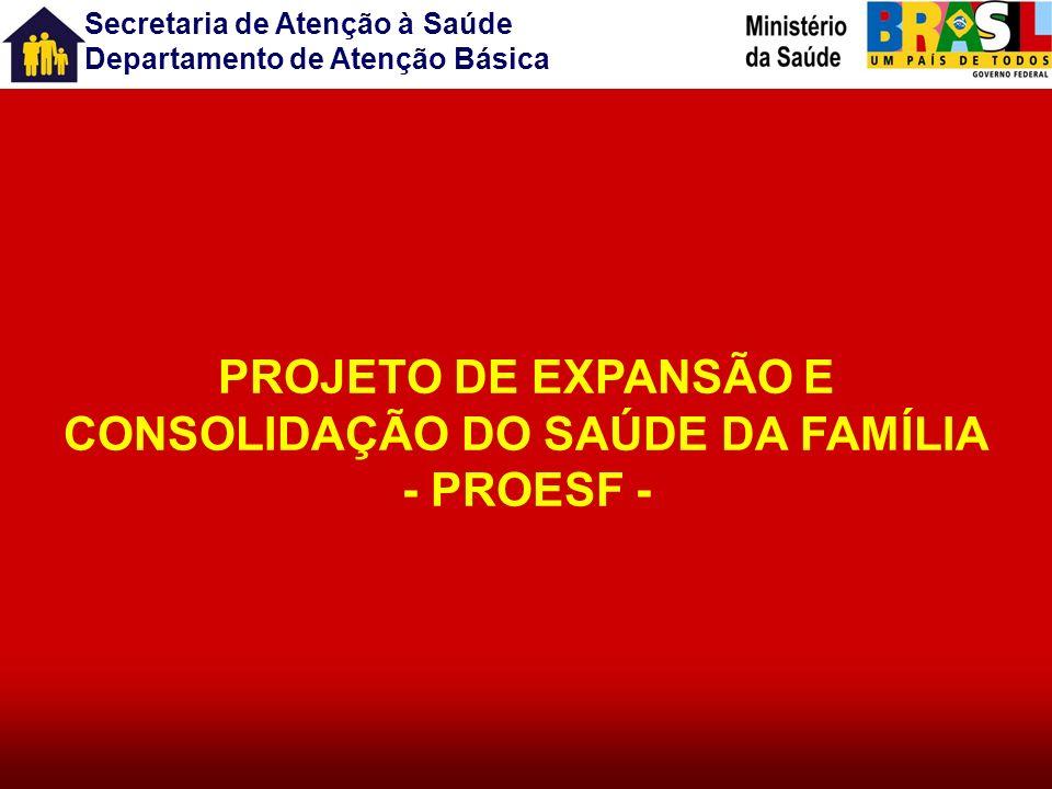 Secretaria de Atenção à Saúde Departamento de Atenção Básica PROJETOS ESTRATÉGICOS Expansão e qualificação da atenção básica Ampliar a cobertura do PS