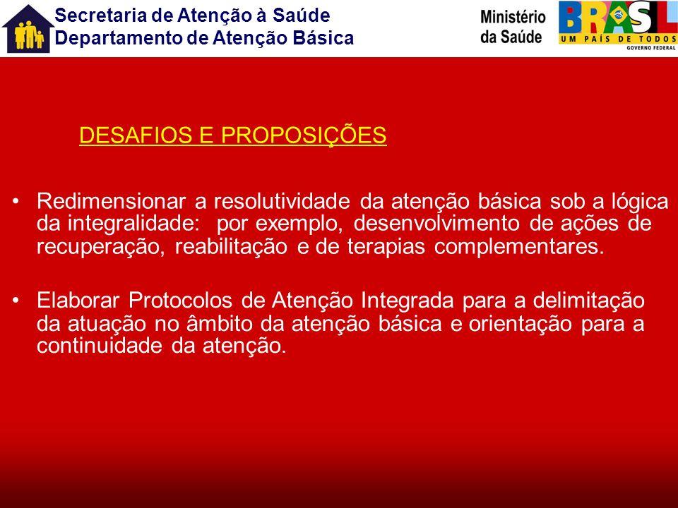Secretaria de Atenção à Saúde Departamento de Atenção Básica PRINCÍPIOS DA ATENÇÃO BÁSICA INTEGRALIDADE DESAFIOS E PROPOSIÇÕES Construir consenso em t