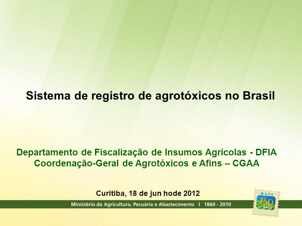 Sistema de registro de agrotóxicos no Brasil Departamento de Fiscalização de Insumos Agrícolas - DFIA Coordenação-Geral de Agrotóxicos e Afins – CGAA