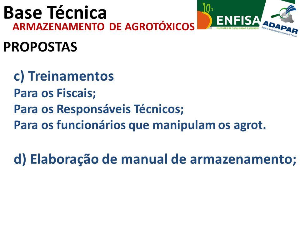 Base Técnica PROPOSTAS ARMAZENAMENTO DE AGROTÓXICOS c) Treinamentos Para os Fiscais; Para os Responsáveis Técnicos; Para os funcionários que manipulam