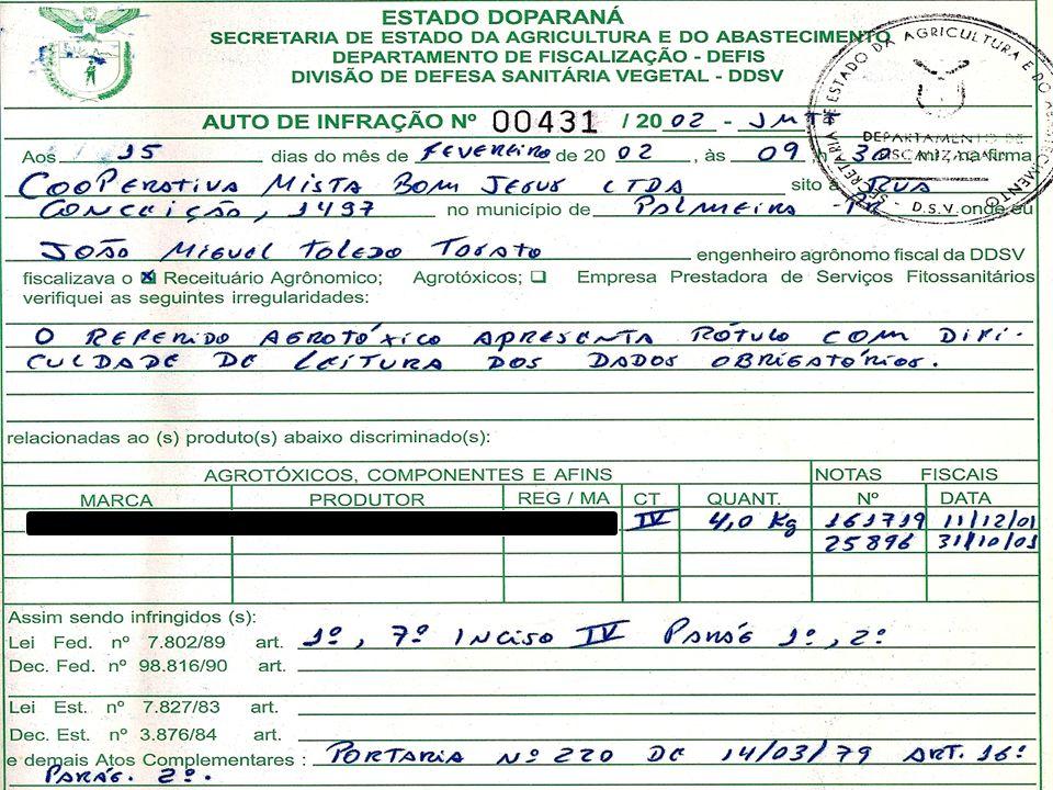 Lacre externo obrigatório Lei Fed. nº 7802/89 Art. 6º Inc. IV Dec. Fed. 4074/02 Art. 44 Inc. IV