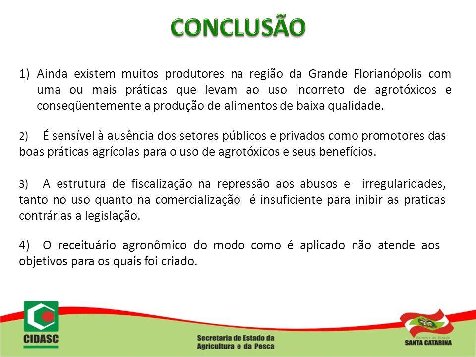 1)Ainda existem muitos produtores na região da Grande Florianópolis com uma ou mais práticas que levam ao uso incorreto de agrotóxicos e conseqüenteme