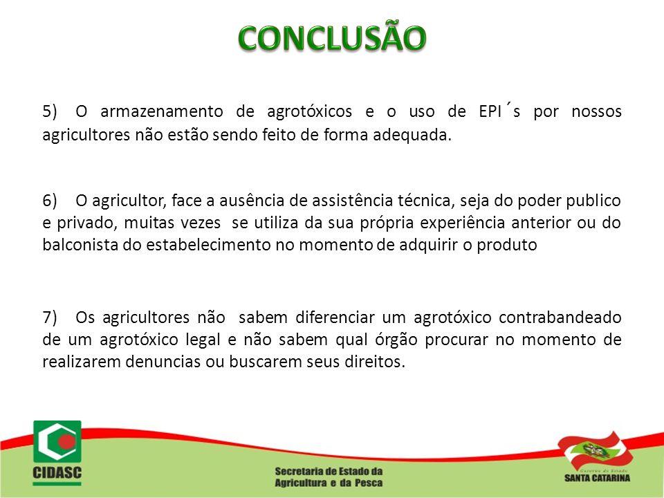 5)O armazenamento de agrotóxicos e o uso de EPI´s por nossos agricultores não estão sendo feito de forma adequada. 6)O agricultor, face a ausência de