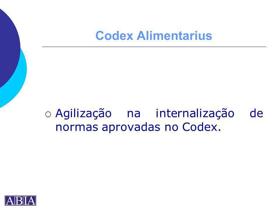 Codex Alimentarius Agilização na internalização de normas aprovadas no Codex.