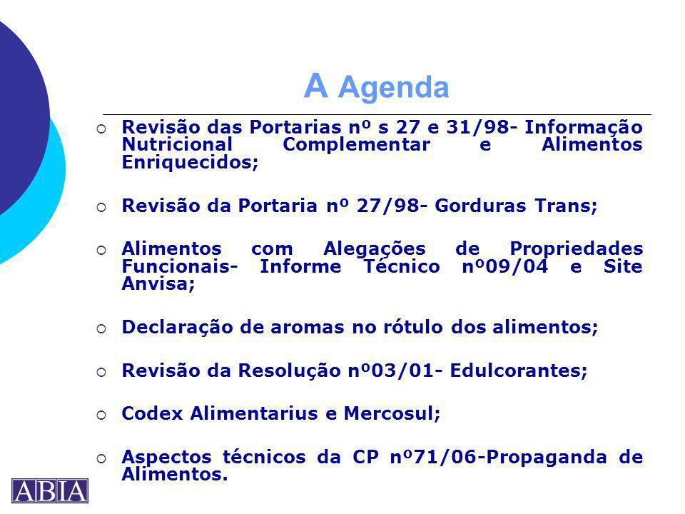 A Agenda Revisão das Portarias nº s 27 e 31/98- Informação Nutricional Complementar e Alimentos Enriquecidos; Revisão da Portaria nº 27/98- Gorduras T