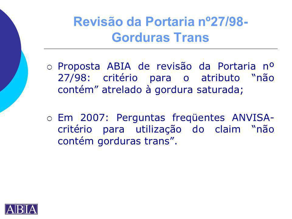 Revisão da Portaria nº27/98- Gorduras Trans Proposta ABIA de revisão da Portaria nº 27/98: critério para o atributo não contém atrelado à gordura satu