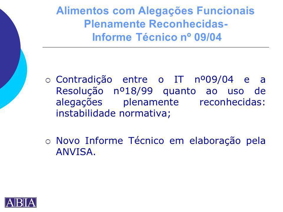 Alimentos com Alegações Funcionais Plenamente Reconhecidas- Informe Técnico nº 09/04 Contradição entre o IT nº09/04 e a Resolução nº18/99 quanto ao us