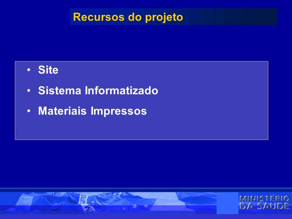 Site Sistema Informatizado Materiais Impressos Recursos do projeto