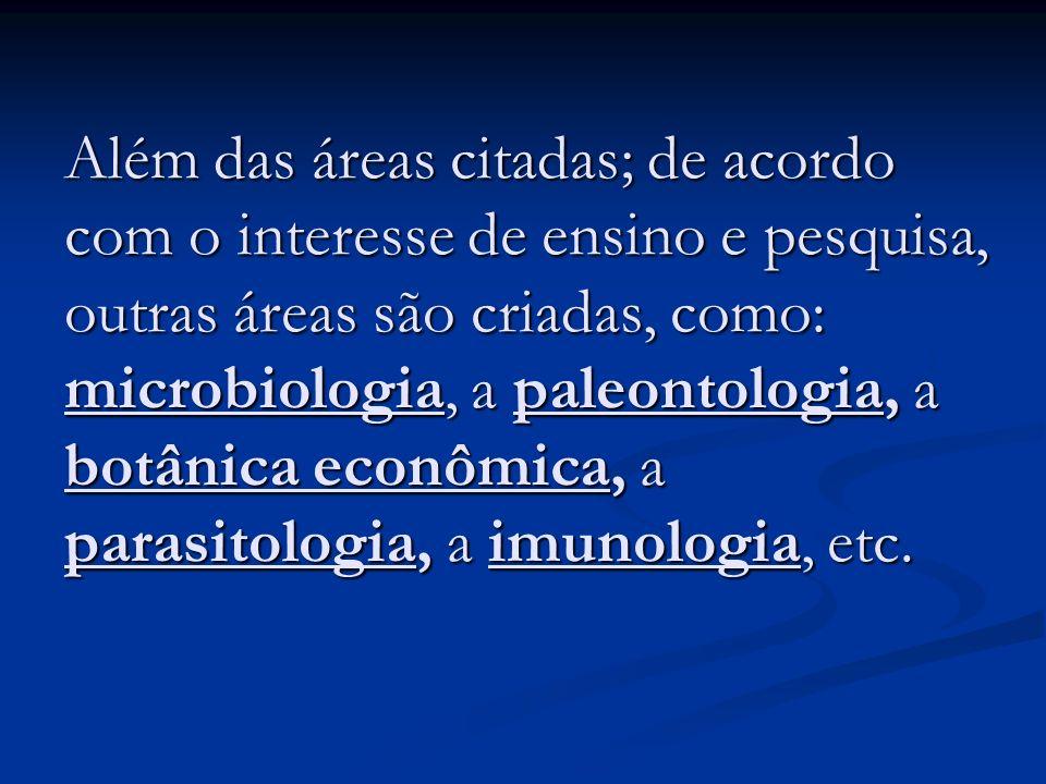 Além das áreas citadas; de acordo com o interesse de ensino e pesquisa, outras áreas são criadas, como: microbiologia, a paleontologia, a botânica eco