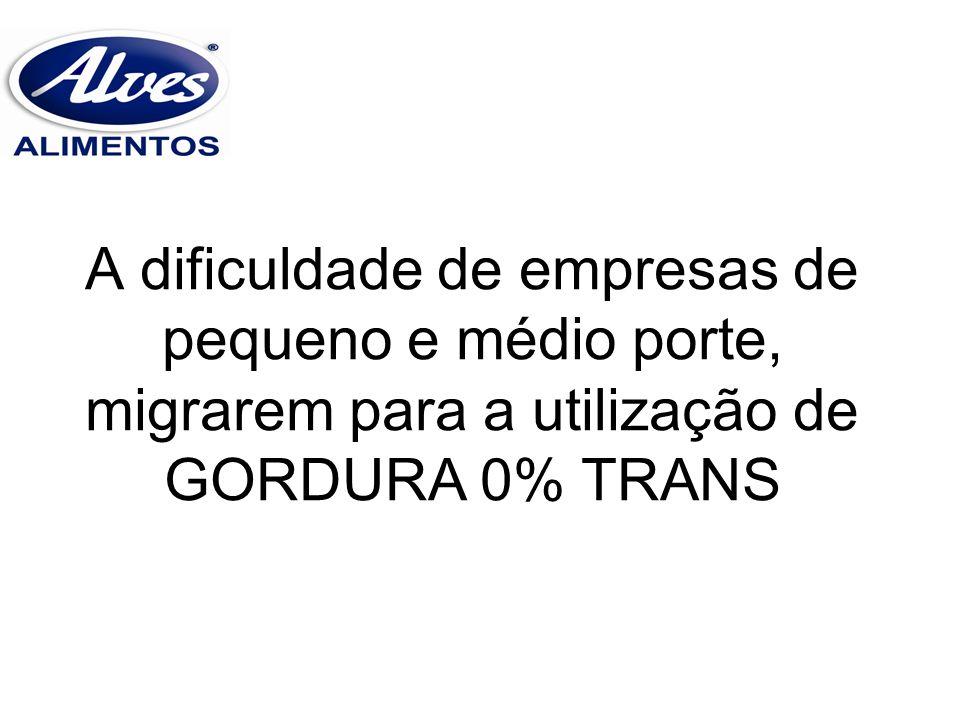 A dificuldade de empresas de pequeno e médio porte, migrarem para a utilização de GORDURA 0% TRANS