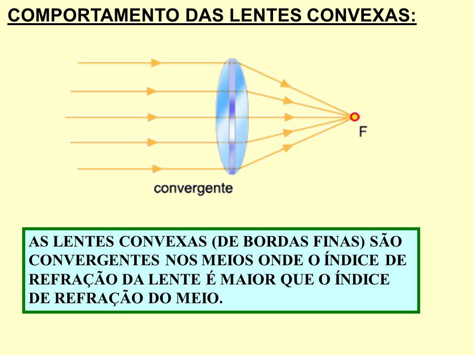 ELEMENTOS DE UMA LENTE ESFÉRICA: Foco Objeto Foco Imagem Ponto Antiprincipal Objeto Ponto Antiprincipal Imagem Centro Óptico Eixo Pricipal Lente