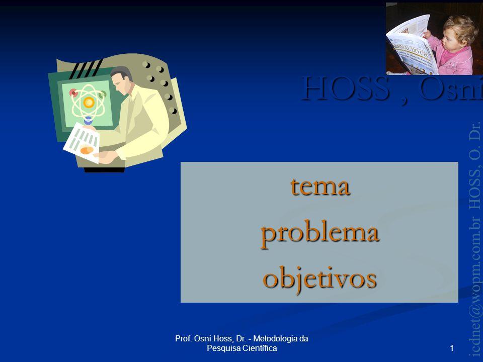 HOSS, Osni 2003 icdnet@wopm.com.br HOSS, O.Dr. 2 Prof.