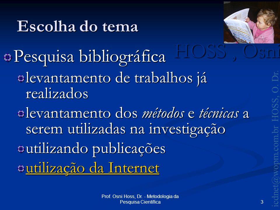 HOSS, Osni 2003 icdnet@wopm.com.br HOSS, O.Dr. 4 Prof.