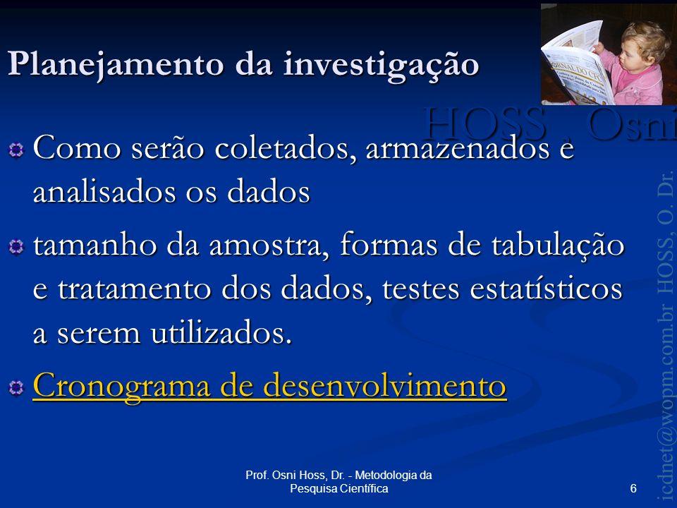 HOSS, Osni 2003 icdnet@wopm.com.br HOSS, O.Dr. 7 Prof.