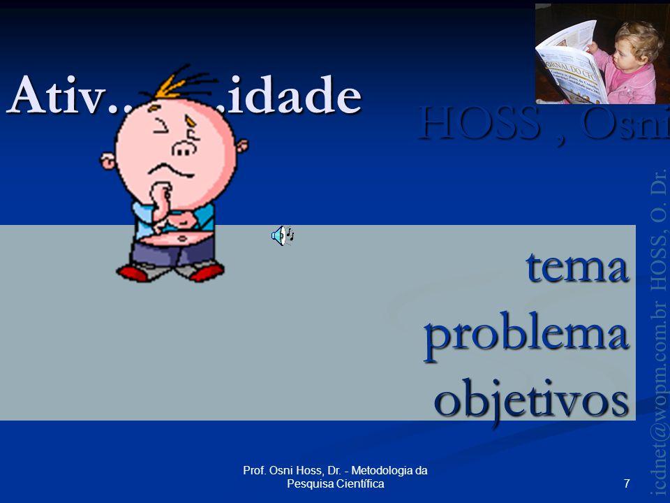 HOSS, Osni 2003 icdnet@wopm.com.br HOSS, O. Dr. 7 Prof.