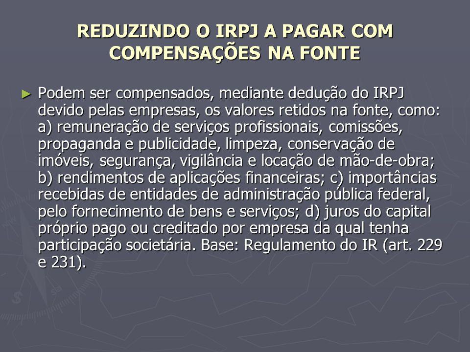 REDUZINDO O IRPJ A PAGAR COM COMPENSAÇÕES NA FONTE Podem ser compensados, mediante dedução do IRPJ devido pelas empresas, os valores retidos na fonte,