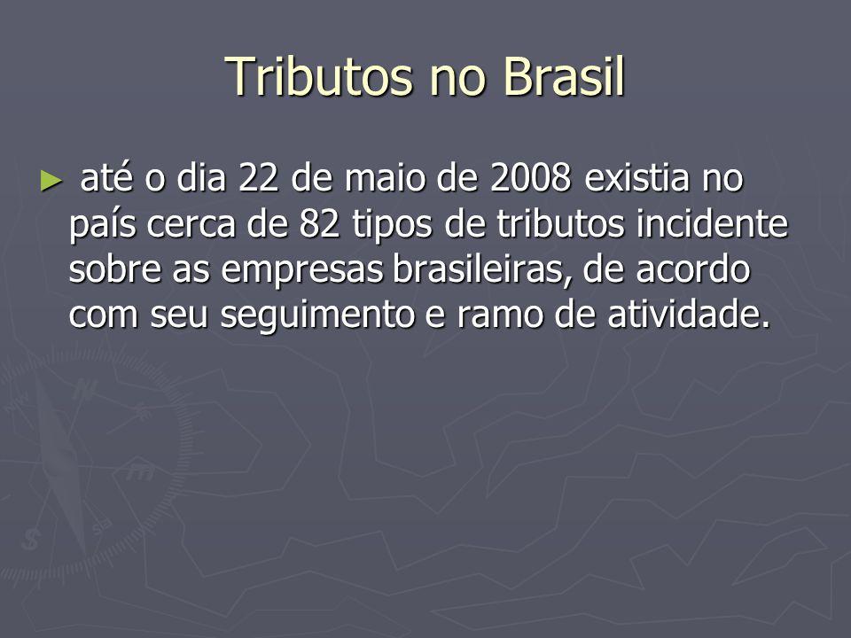 Tributos no Brasil até o dia 22 de maio de 2008 existia no país cerca de 82 tipos de tributos incidente sobre as empresas brasileiras, de acordo com s