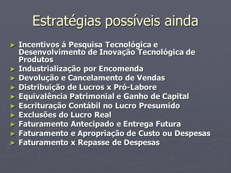 Estratégias possíveis ainda Incentivos á Pesquisa Tecnológica e Desenvolvimento de Inovação Tecnológica de Produtos Incentivos á Pesquisa Tecnológica