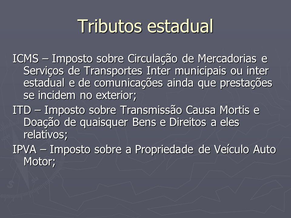 Tributos estadual ICMS – Imposto sobre Circulação de Mercadorias e Serviços de Transportes Inter municipais ou inter estadual e de comunicações ainda