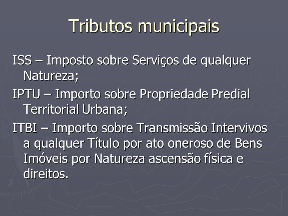 Tributos municipais ISS – Imposto sobre Serviços de qualquer Natureza; IPTU – Importo sobre Propriedade Predial Territorial Urbana; ITBI – Importo sob