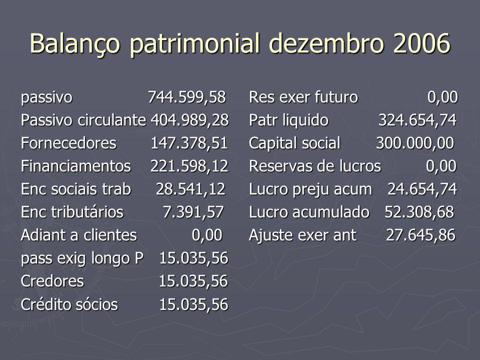 Balanço patrimonial dezembro 2006 passivo 744.599,58 Passivo circulante 404.989,28 Fornecedores 147.378,51 Financiamentos 221.598,12 Enc sociais trab