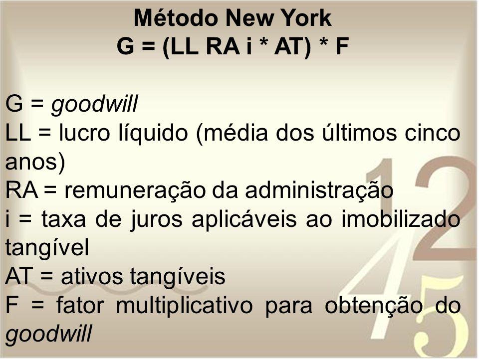Método New York G = (LL RA i * AT) * F G = goodwill LL = lucro líquido (média dos últimos cinco anos) RA = remuneração da administração i = taxa de ju