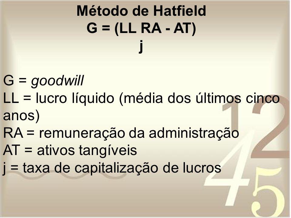 Método de Hatfield G = (LL RA - AT) j G = goodwill LL = lucro líquido (média dos últimos cinco anos) RA = remuneração da administração AT = ativos tan