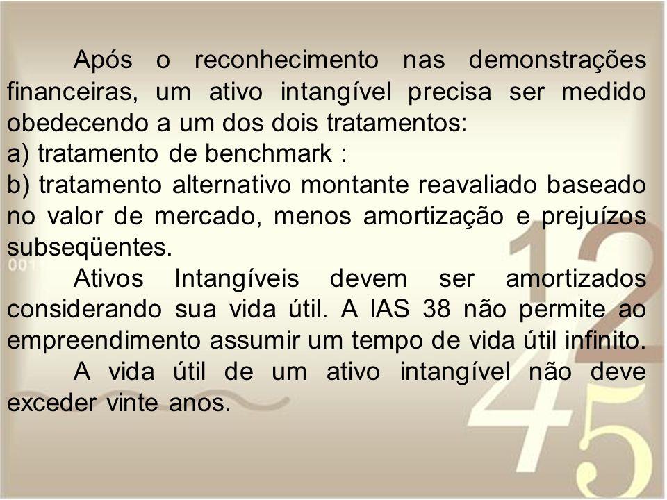 Após o reconhecimento nas demonstrações financeiras, um ativo intangível precisa ser medido obedecendo a um dos dois tratamentos: a) tratamento de ben