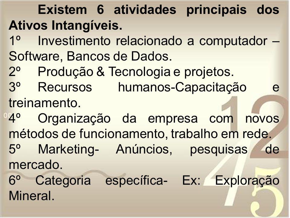 Existem 6 atividades principais dos Ativos Intangíveis. 1ºInvestimento relacionado a computador – Software, Bancos de Dados. 2º Produção & Tecnologia