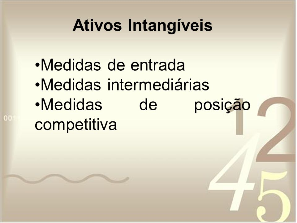 Ativos Intangíveis Medidas de entrada Medidas intermediárias Medidas de posição competitiva