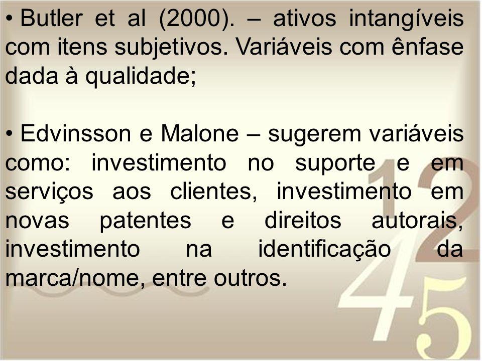 Butler et al (2000). – ativos intangíveis com itens subjetivos. Variáveis com ênfase dada à qualidade; Edvinsson e Malone – sugerem variáveis como: in