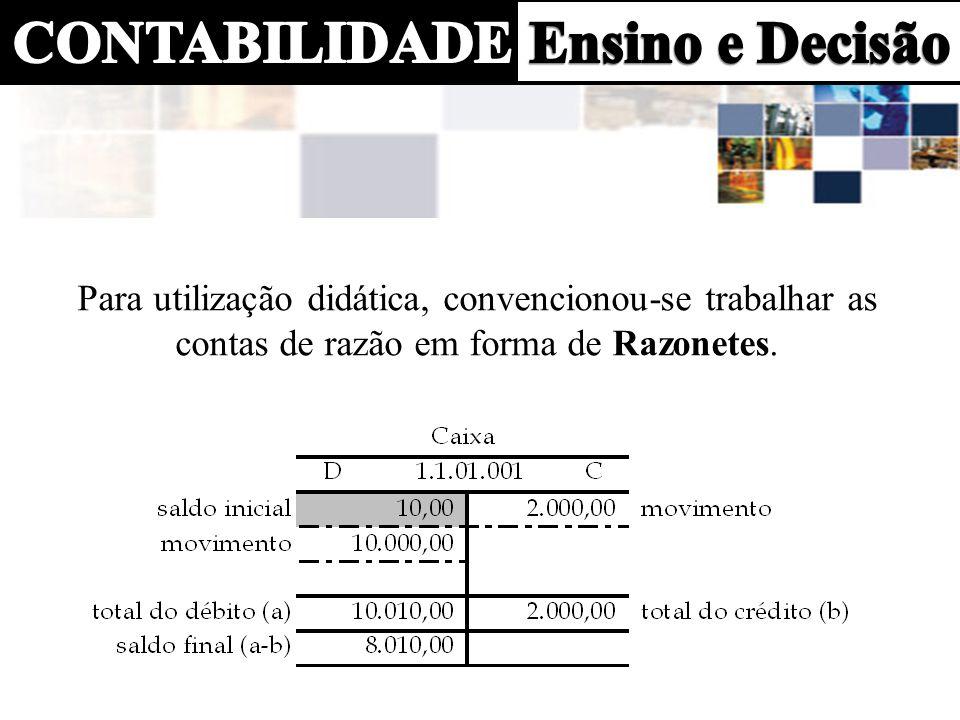 Para utilização didática, convencionou-se trabalhar as contas de razão em forma de Razonetes.