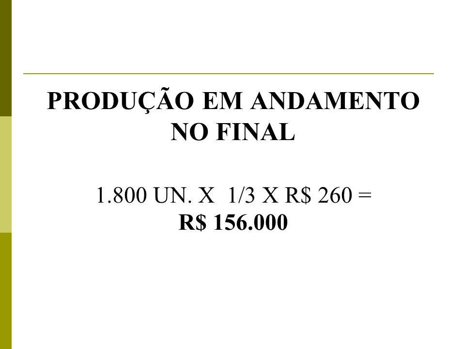 PRODUÇÃO EM ANDAMENTO NO FINAL 1.800 UN. X 1/3 X R$ 260 = R$ 156.000