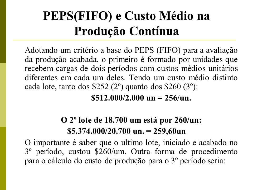 PEPS(FIFO) e Custo Médio na Produção Contínua Adotando um critério a base do PEPS (FIFO) para a avaliação da produção acabada, o primeiro é formado po