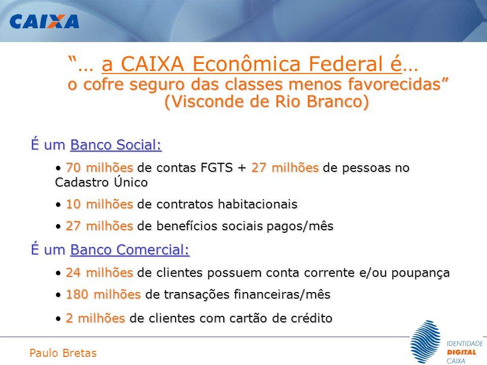 Paulo Bretas … a CAIXA Econômica Federal é… o cofre seguro das classes menos favorecidas (Visconde de Rio Branco) É um Banco Social: 70 milhões de con