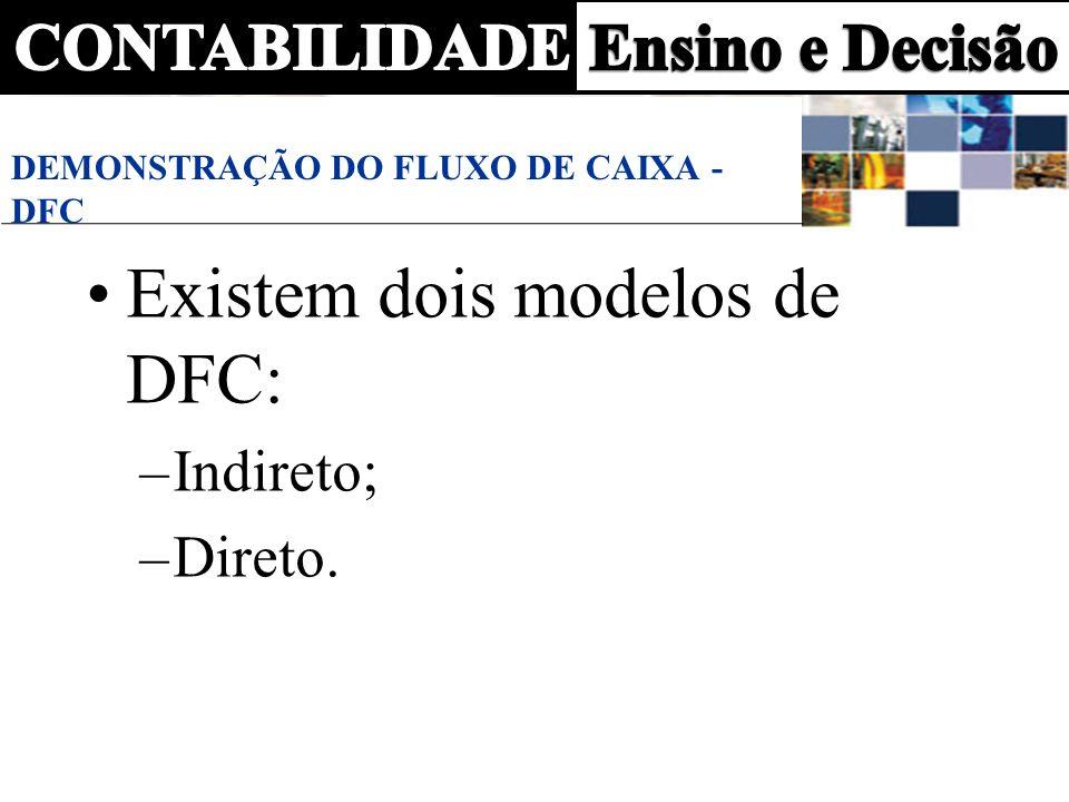 DEMONSTRAÇÃO DO FLUXO DE CAIXA - DFC Existem dois modelos de DFC: –Indireto; –Direto.