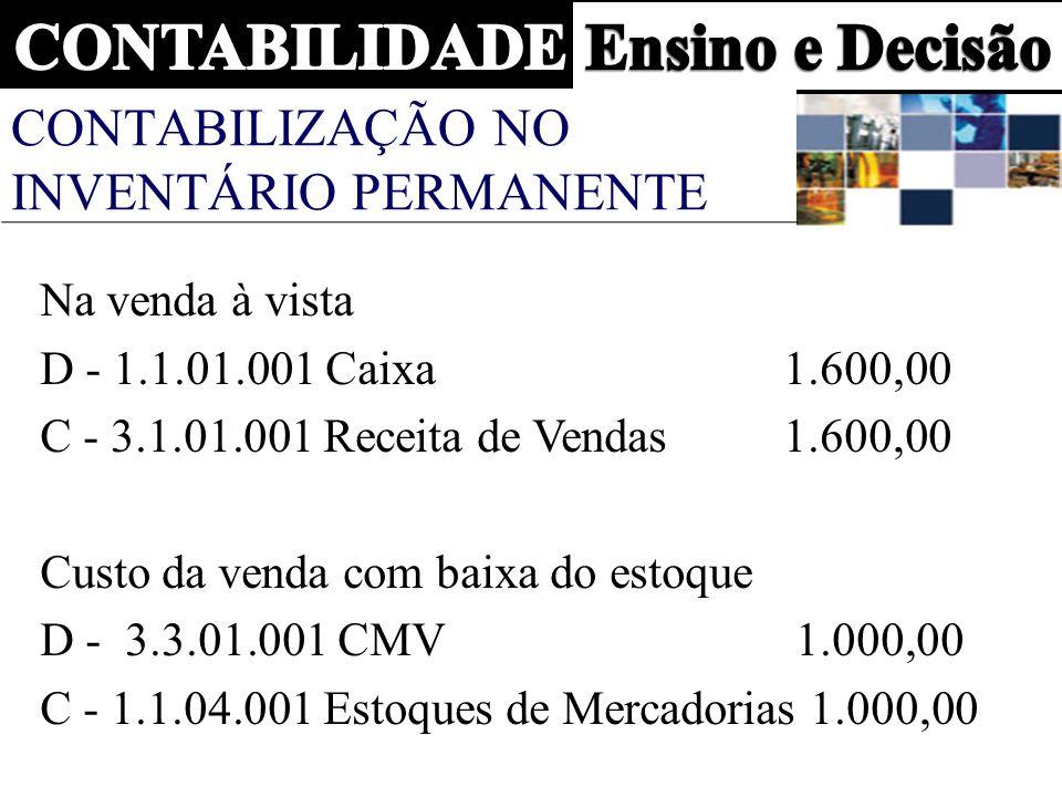 CONTABILIZAÇÃO NO INVENTÁRIO PERMANENTE Na venda à vista D - 1.1.01.001 Caixa 1.600,00 C - 3.1.01.001 Receita de Vendas1.600,00 Custo da venda com baixa do estoque D - 3.3.01.001 CMV 1.000,00 C - 1.1.04.001 Estoques de Mercadorias 1.000,00